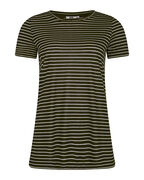 DAMES STRIPED R-NECK T-SHIRT_DAMES STRIPED R-NECK T-SHIRT, Zwart