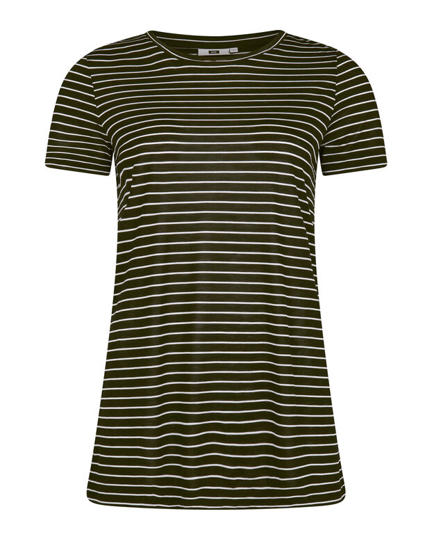 T-SHIRT R-NECK STRIPED FEMME Noir