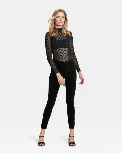JEANS HIGH RISE SUPER SKINNY HIGH STRETCH VELVET FEMME Noir