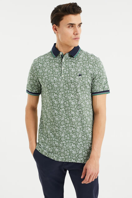 Heren polo met bloemendessin All-over print