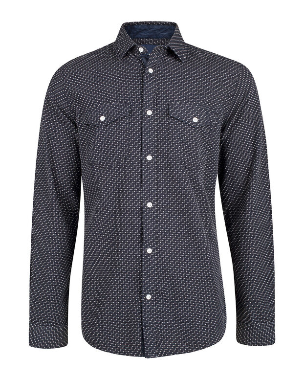 HEREN RELAXED FIT PRINTED OVERHEMD Donkerblauw