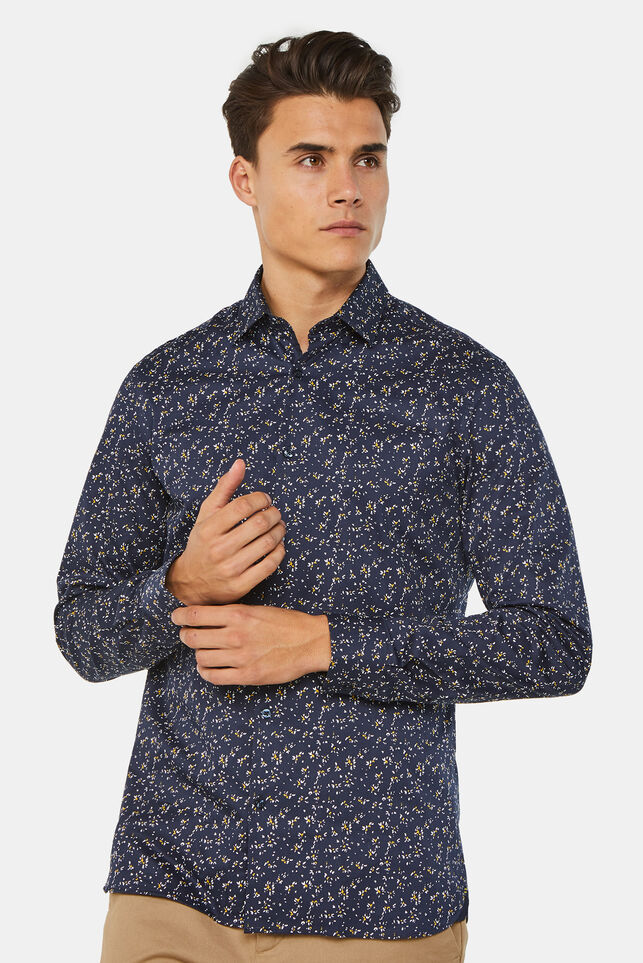 Heren slim fit overhemd met satin touch All-over print