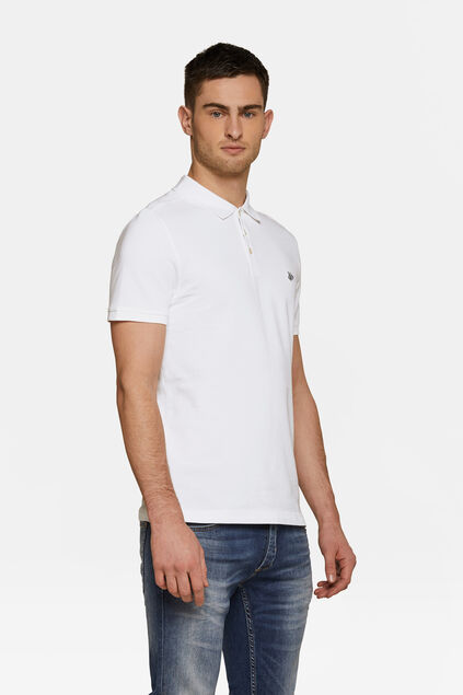 Heren organic cotton pique polo Wit