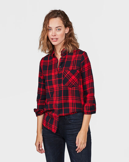 DAMES CHECKED PRINT BLOUSE Rood