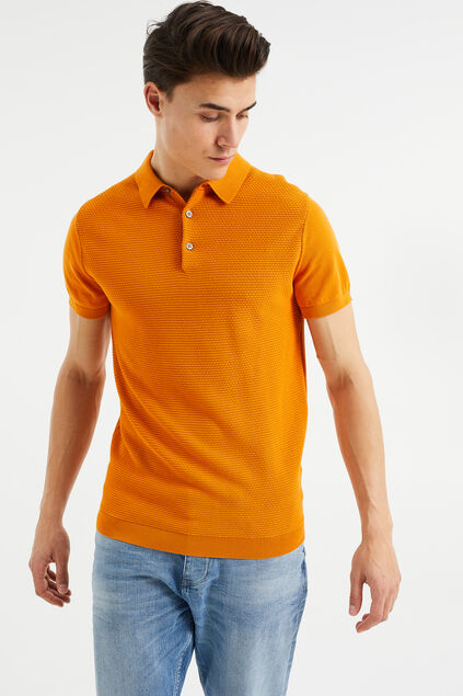 Polo de fin jersey à structure homme Orange