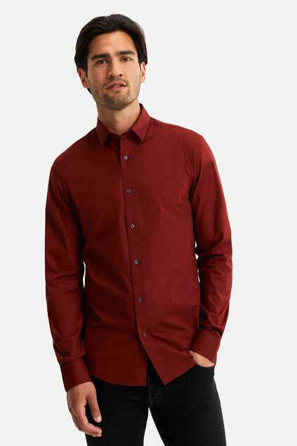 Heren slim fit stretch overhemd Bordeauxrood