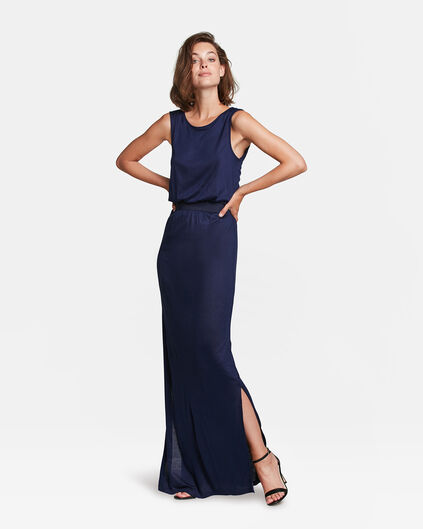 DAMES CUT OUT DETAIL MAXI JURK Marineblauw