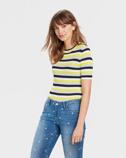 DAMES STRIPE RIB TOP Multikleur