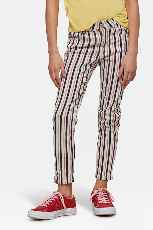 Meisjes superskinny fit stripe jeans Roze