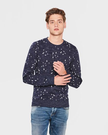 HEREN PRINTED X-MAS SWEATER Donkerblauw