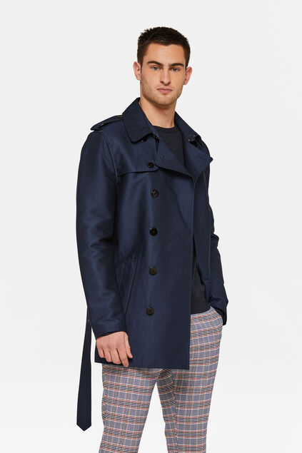Heren trenchcoat Marineblauw