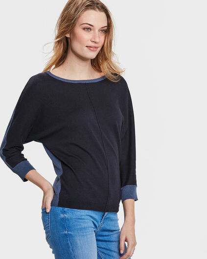 DAMES COLOR CONTRAST TRUI Donkerblauw
