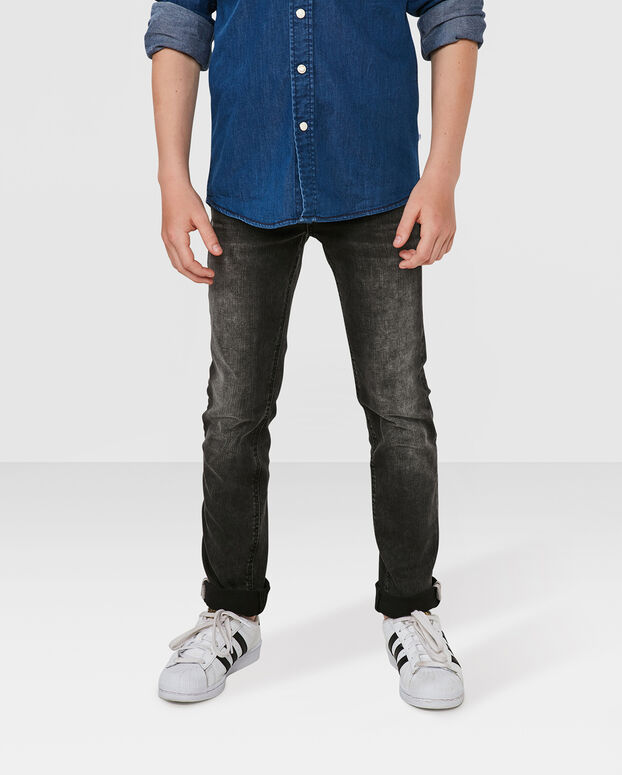 JONGENS SKINNY FIT POWER STRETCH JEANS Zwart