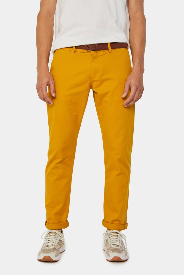 Heren slim tapered chino Mosterdgeel