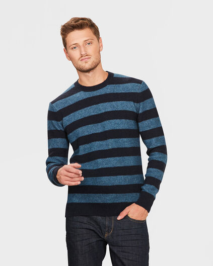 HEREN BRUSHED STRIPE TRUI Marineblauw