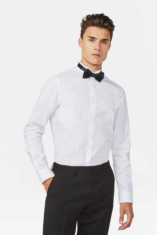 Heren Slim fit bowtie overhemd Wit