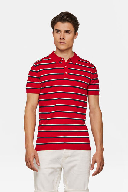 Polo tricot rayé homme Rouge