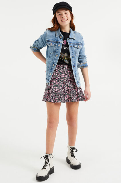 Trucker jacket denim fille Bleu eclair