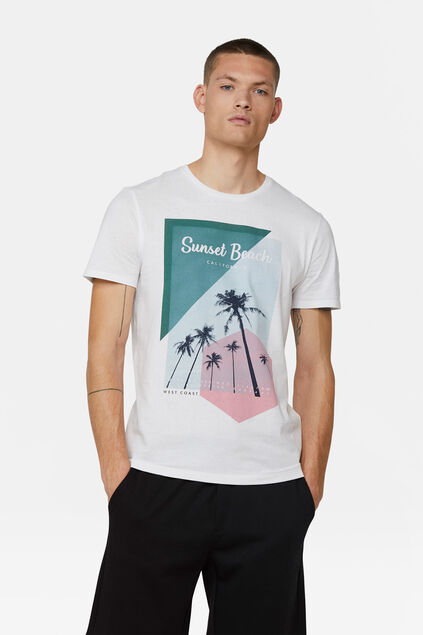 Heren sunset beach T-shirt Wit