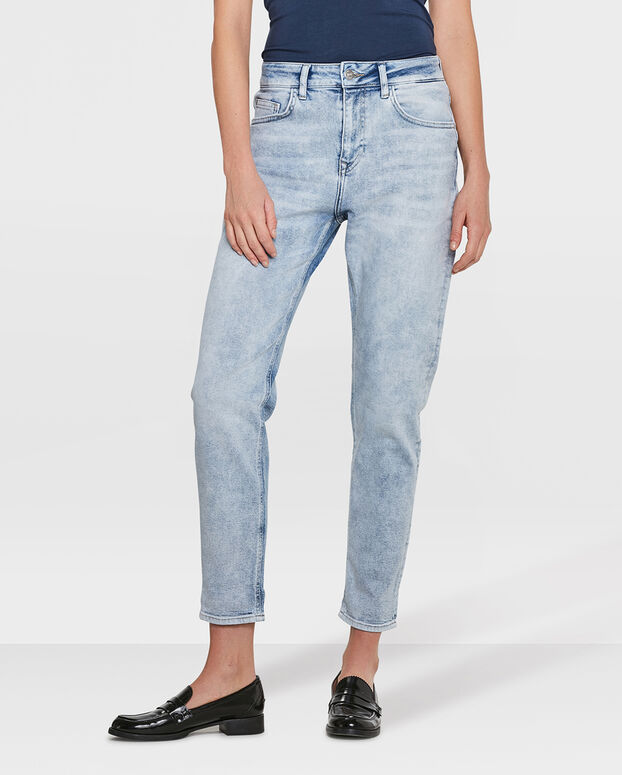 JEANS HIGH RISE TAPERED GIRLFRIEND COMFORT STRETCH FEMME Bleu eclair