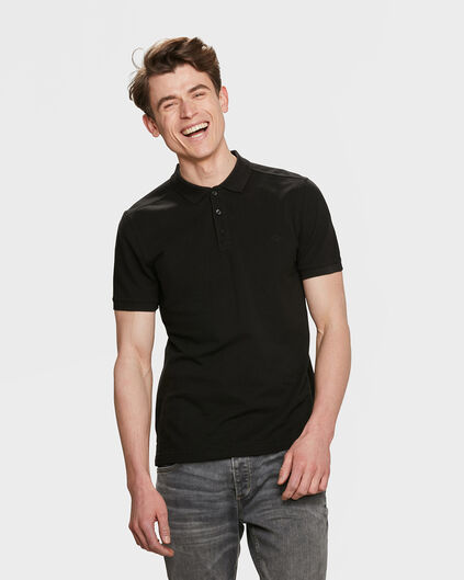 HEREN ORGANIC COTTON PIQUÉ POLO Zwart