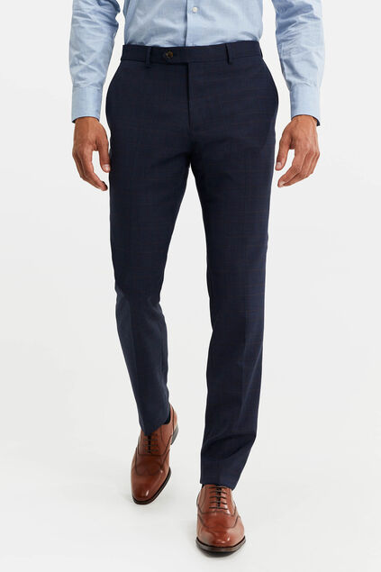 Heren slim fit geruite pantalon, Virgil Donkerblauw
