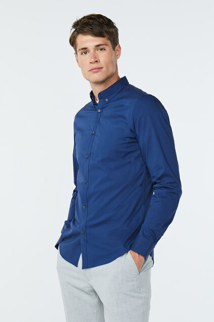 Heren slim fit button-down stretch overhemd Donkerblauw
