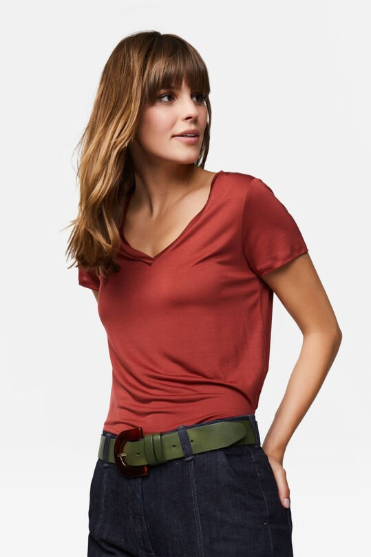 Dames Lyocell T-shirt Rood