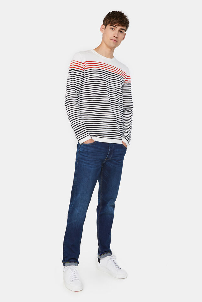 Heren slim fit tapered jeans Donkerblauw