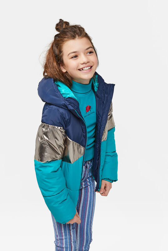 Meisjes colourblock bomberjacket Turquoise