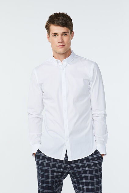 Heren slim fit button-down stretch overhemd Wit
