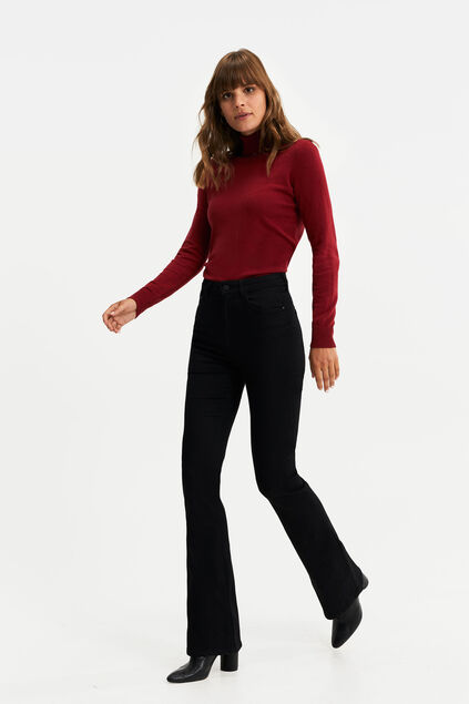 Dames high rise high stretch fared jeans Zwart