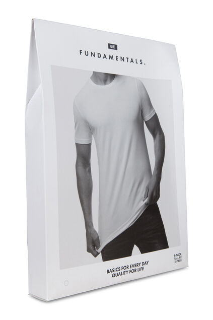 Heren tall fit T-shirt van biologisch katoen, 2-pack Wit