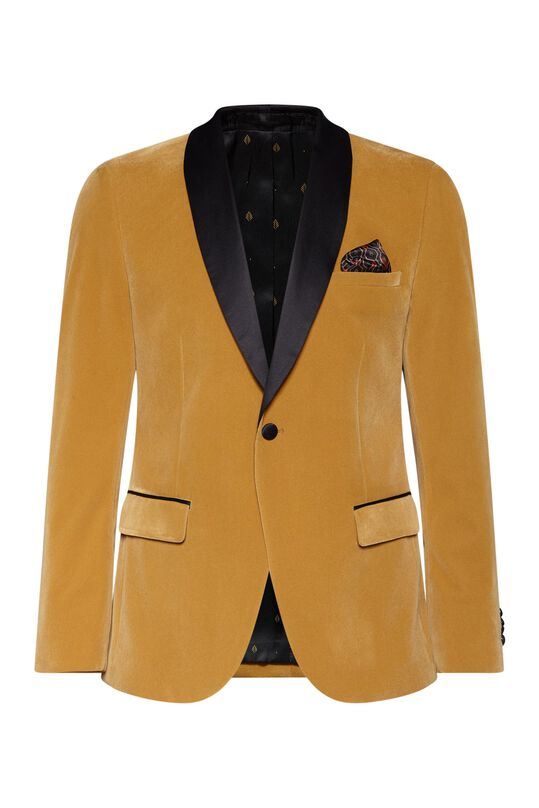 Heren slim fit smoking blazer Bruin