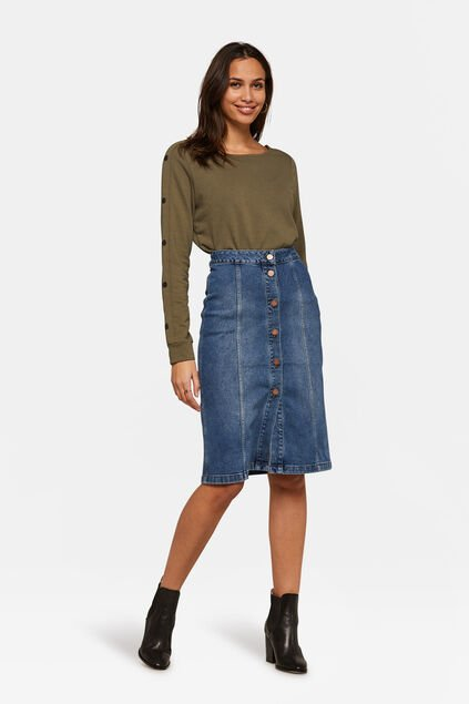 DAMES DENIM MIDI ROK Blauw
