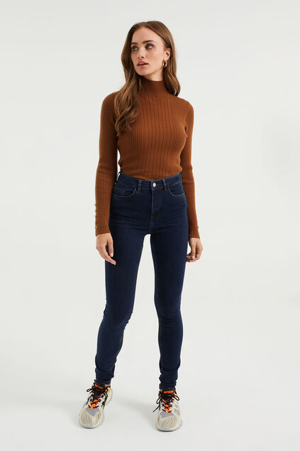 Dames high rise skinny jeans met stretch Blauw