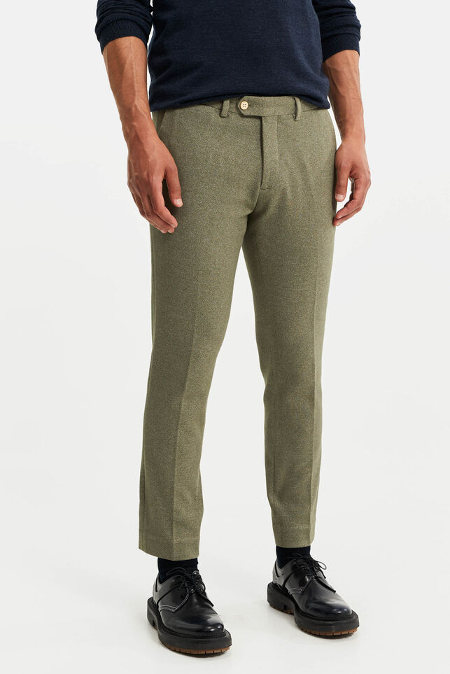 Heren slim fit pantalon, Jorritt Olijfgroen