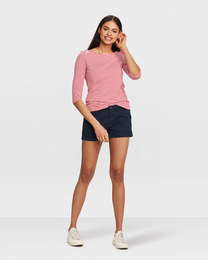 SHORT RELAXED FIT CHINO FEMME Bleu marine