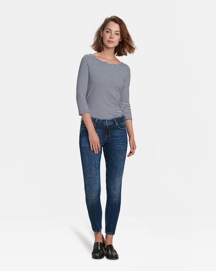 JEANS MID RISE SKINNY HIGH STRETCH CROPPED FEMME Bleu foncé