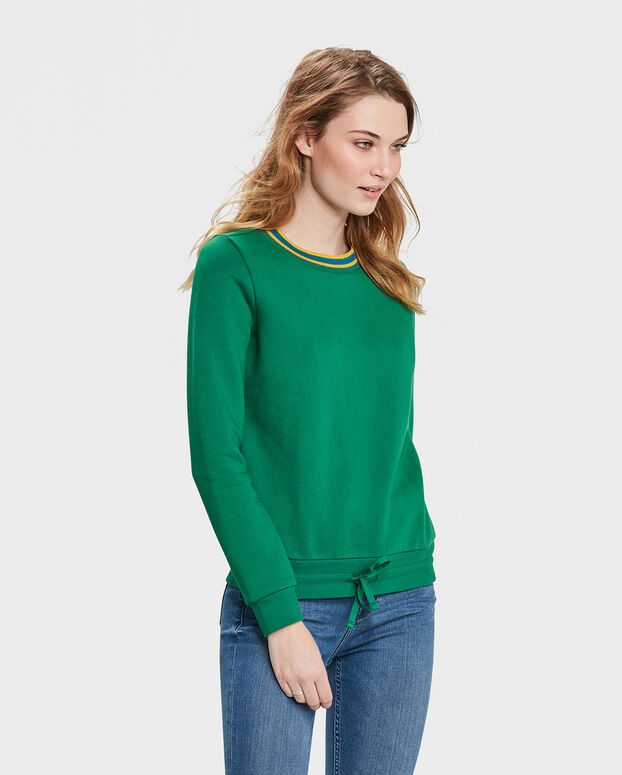 DAMES STREEP DETAIL SWEATER Groen