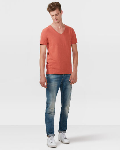 HEREN ORGANIC COTTON  V-NECK T-SHIRT Oranje