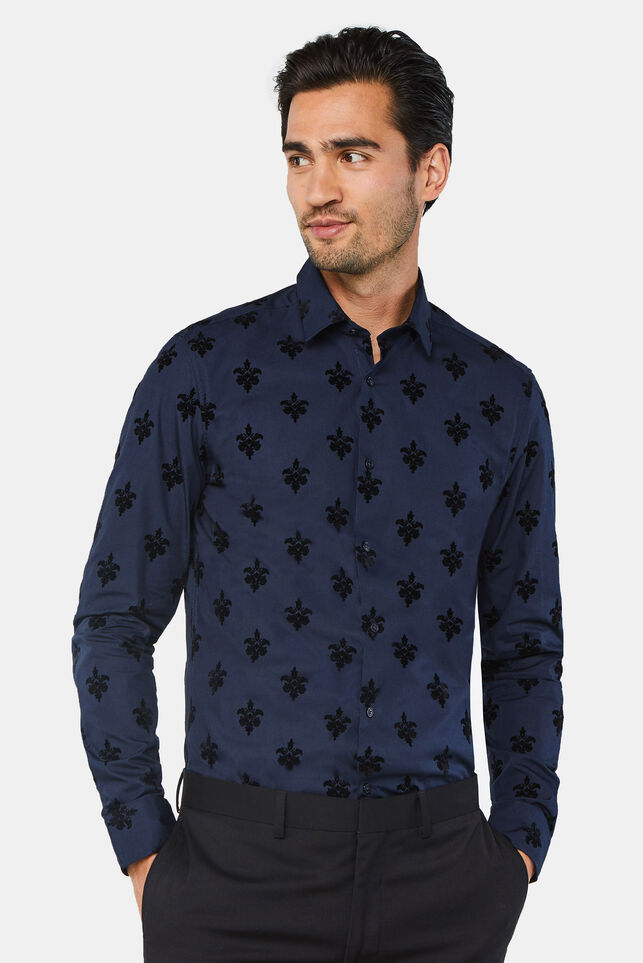 Heren slim fit overhemd met flockprint Donkerblauw