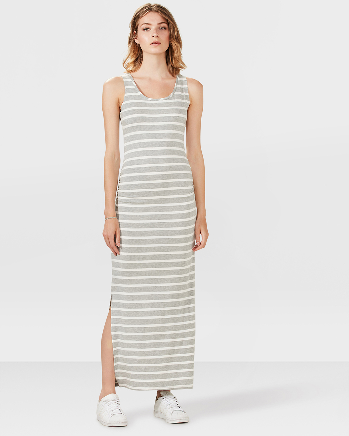 Maxi Jurk Grijs.Dames Maxi Stripe Jurk 79330251 We Fashion