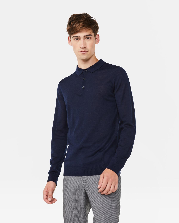 Pull polo en laine de mérinos homme | 946