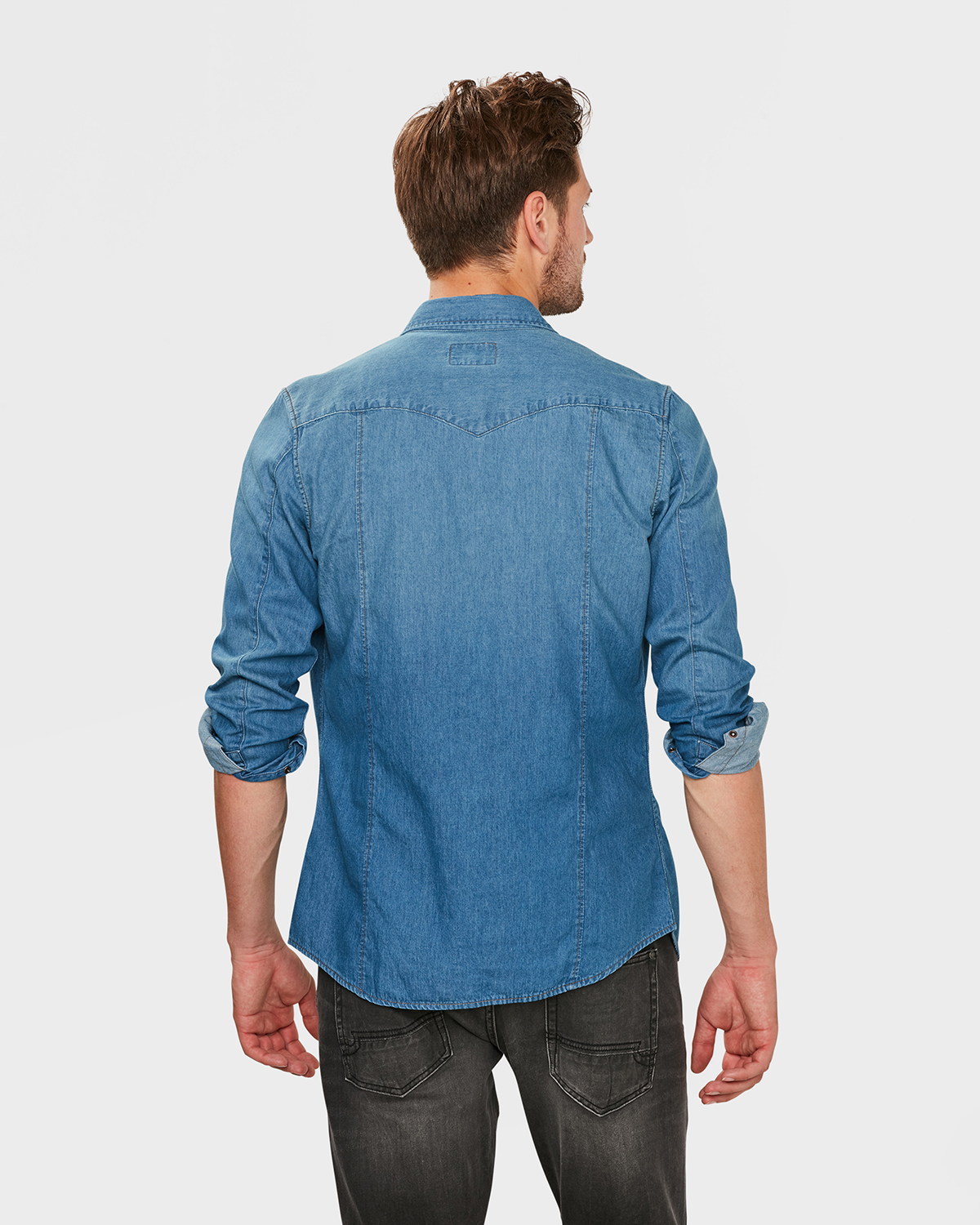Spijkerstof Overhemd.Heren Slim Fit Denim Overhemd 79596756 We Fashion