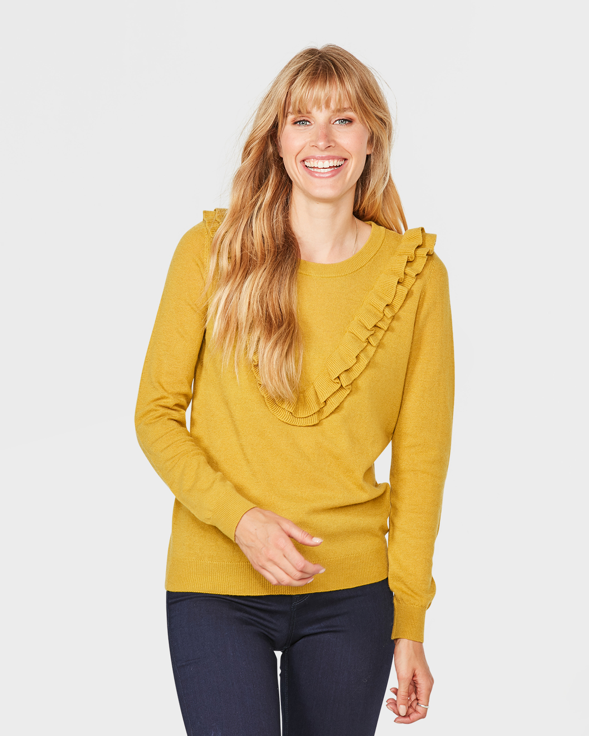 ae7d2d25a4eb PULL VOLANT FEMME Jaune moutarde