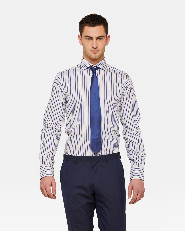 Overhemd Blauw.Heren Slim Fit Gestreept Overhemd 93367028 We Fashion