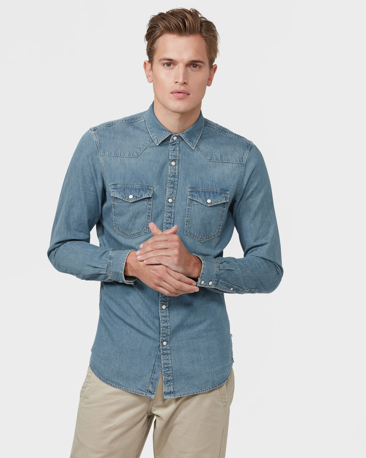 Denim Overhemd Heren.Heren Slim Fit Denim Overhemd 79136037 We Fashion