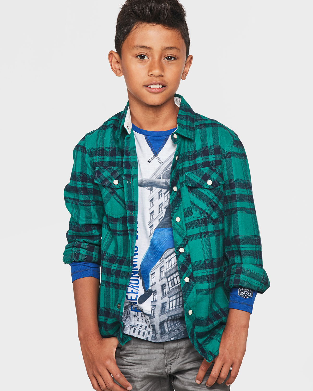 Flanel Overhemd.Jongens Flanel Checked Overhemd 80010173 We Fashion