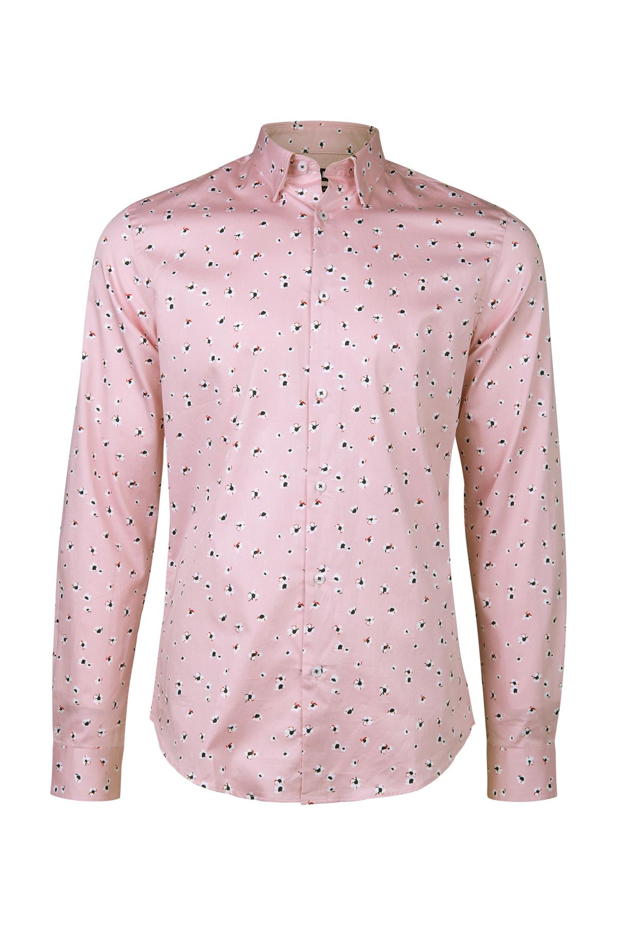 486524c9008 Chemise slim fit à motif fleurs homme Rose clair